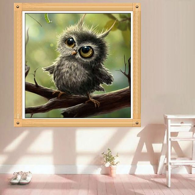 Painting Cross Stitch 5D Diamond Embroidery Owl Mosaic Resin DIY Craft