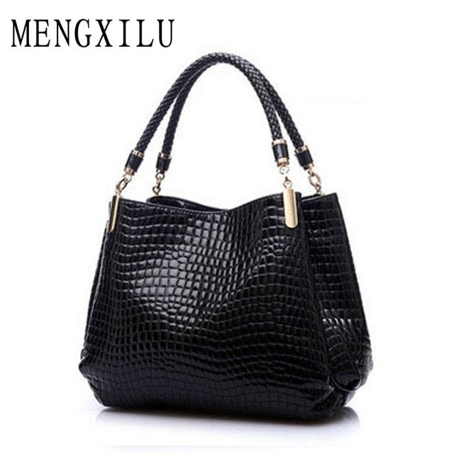 Fashion Big New Women Shoulder Bags Alligator Ladies Leather Bags Women Handbags Of Famous Brands Totes 2016 Black Sac Espagnol