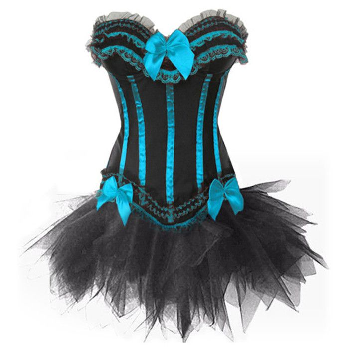 Women Gothic Burlesque Corset and Black Tutu Skirt Outfit Halloween Witch Costume