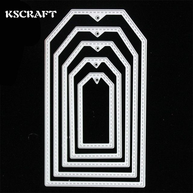 KSCRAFT 5pcs Sewing Tags Metal Cutting Dies Stencils for DIY Scrapbooking Decorative snijmal en Embossing DIY Paper Cards Making