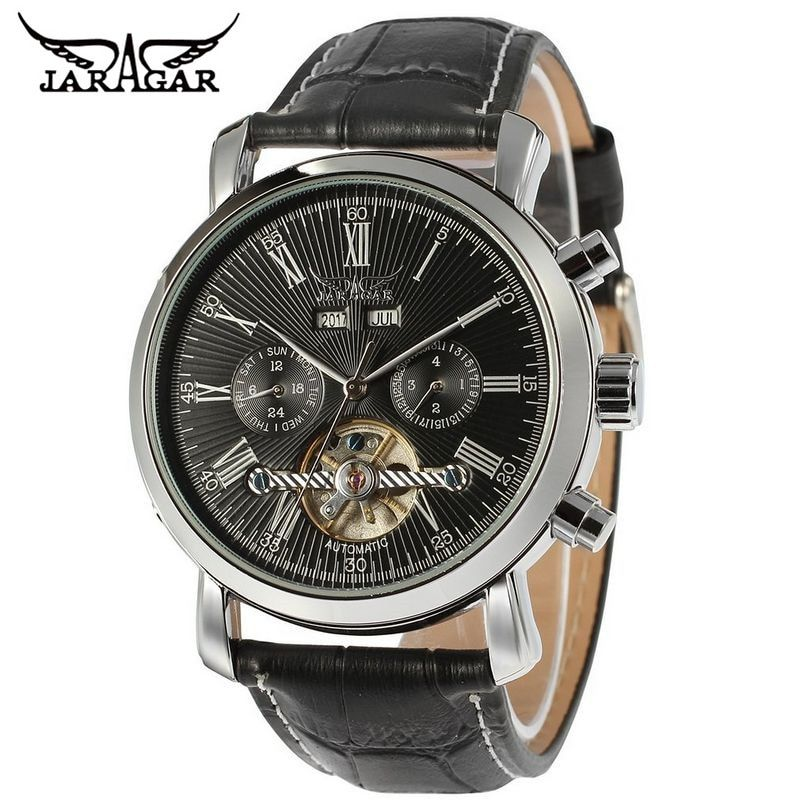 JARAGAR Luxury Men's Day/Year Tourbillon Analog Mens Mechanical Watch Wristwatch Gift Free Ship