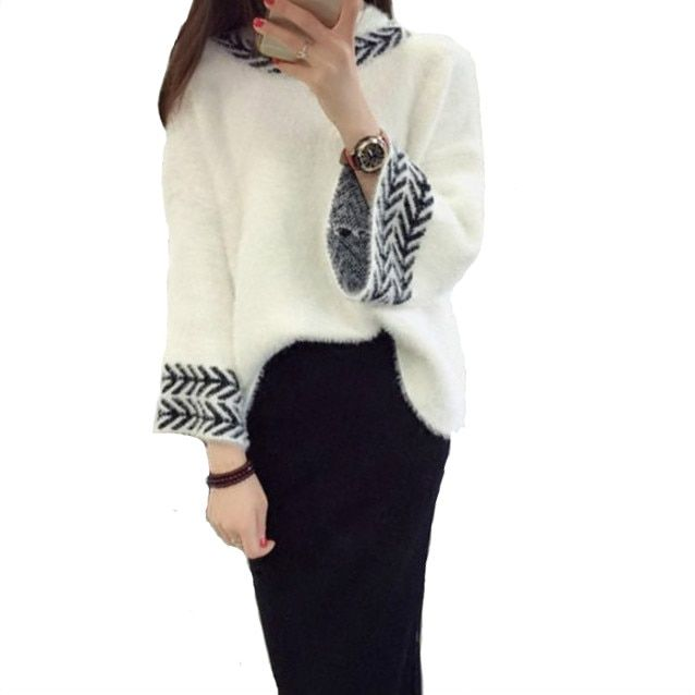 Women winter sweater female Cashmere o neck Embroidery Floral knit loose women pullovers and sweater new arrive