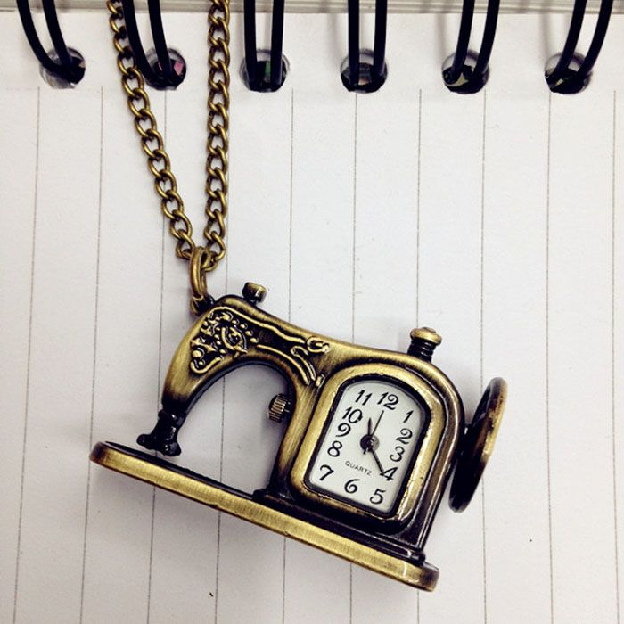 Retro Antique Alloy Pocket Watch Sewing Machines New Design Men Women Fob Watch Vintage Necklace Pendant Chain Gift relogio
