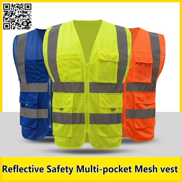 SFvest Men's  Multi-pocket Reflective safety vest work vest quick dry Fluorescent yellow workwear blue vest free shipping
