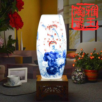 LED Table Lamp Jingdezhen Egg- Shell Handpainted Ceramic Lamp LED E27 220v 110v Free shipping  Wood Wedding Gift