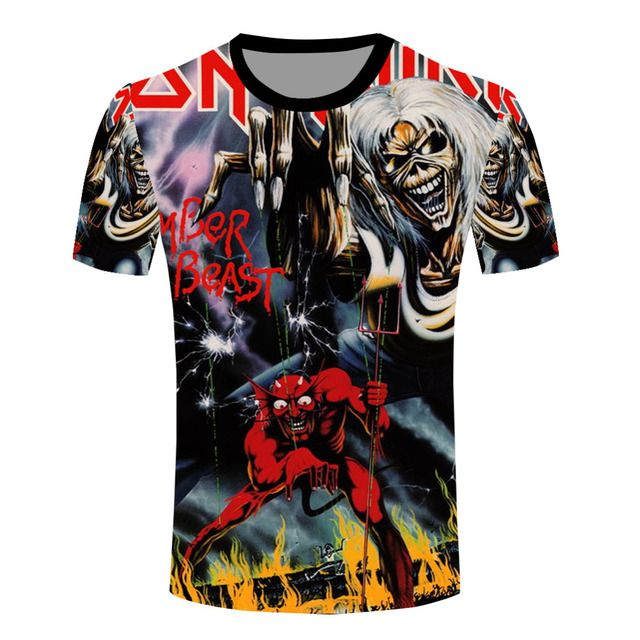 Newest T Shirts Funny Fashion Iron Maiden Band T-shirts Men's Rock Music Style Collectible O Neck Tee Shirts