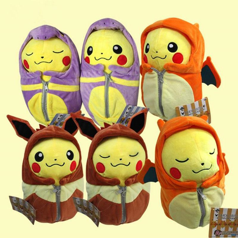 Cartoon Pikachu Plush Toys Dolls Cosplay Charizard Ekans Sleeping Bag Cartoon Fashion Plush Toys 20cm