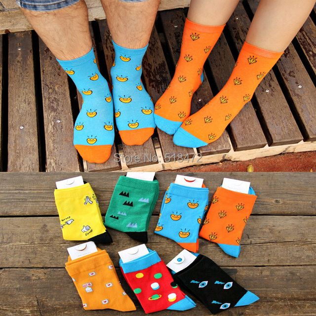 Cheap sale brand new long socks women's Candy color cartoon winter cotton socks Good quality comfortable casual socks 6 pairs