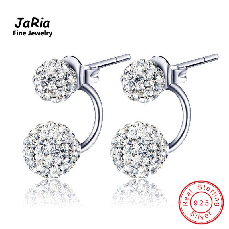 JaRia Fine Jewelry Luxury Women Jewelry Sterling Silver Double Ball Crystal Earrings real 925 sterling silver crystal earrings