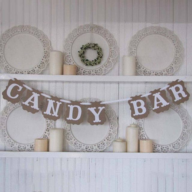 3M Paper Candy Bar Wedding Banner Signs Decoration Bride To Be Baby Shower Bunting Birthday Buffet Event Party Supplies
