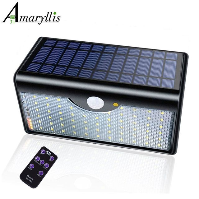 Newest 60 LED Solar Lamp Five Modes With Indicator Lights Solar Power Lights For Outdoor Garden Wall IP65 Waterproof