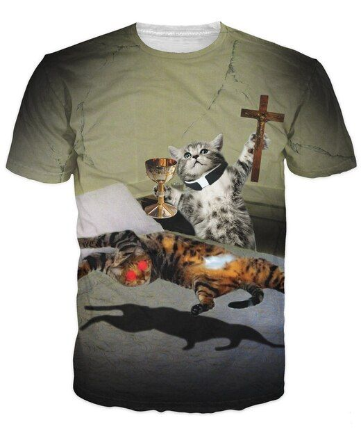 Pussessed T-Shirt kitties and get in the exorcism 3d funny cats print summer t shirt women men tees casual t-shirt