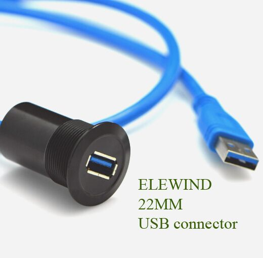 22mm  metal USB connector/USB socket  (USB3.0 FEMALE A - MALE A with 60cm wiring)