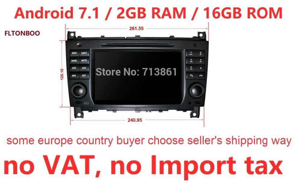 "7"" Android 7.1 for mercedes w203,clk w209 2din car dvd,gps navigation 3G,Wifi,radio,bluetooth,Steering wheel Canbus Free 8g map"