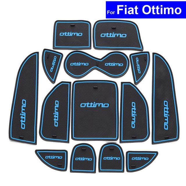 14 Pcs Car Non-slip Door Gate Slot Mats Carpets Position Cup Holder Pads For Fiat Ottimo 2014 2015 2016 Door Groove Mat
