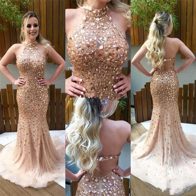 Vestido De Novia Champagne Halter Backless Prom Dresses 2017 Major Beading Rhinestones Mermaid Evening Party Gowns