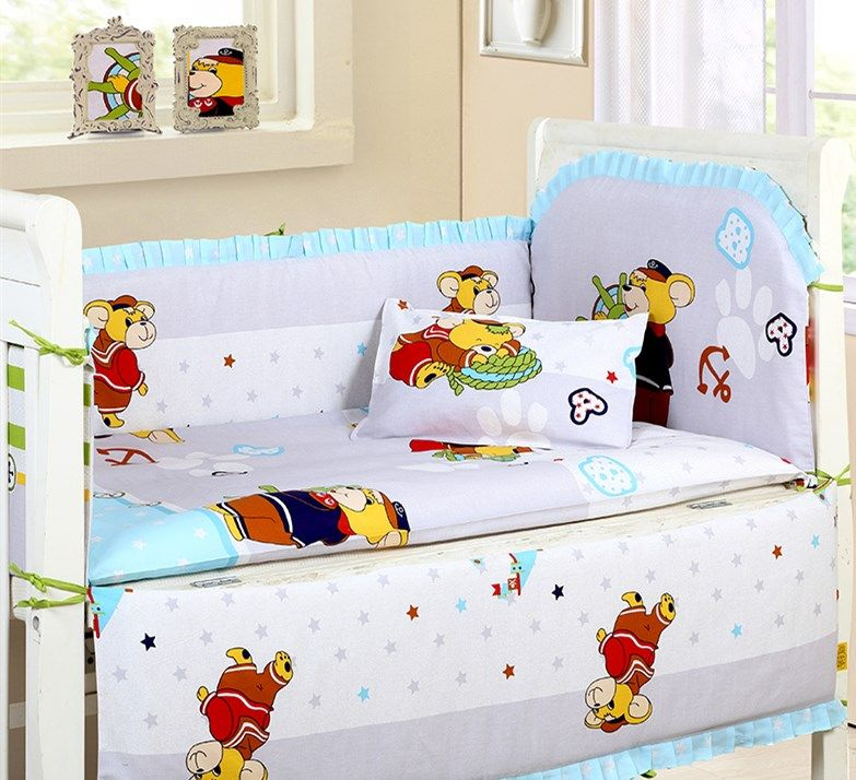 Promotion! 6pcs Crib Cot Bumpers Newborn Baby Bedding Set Bumpers in the Crib,include (bumpers+sheet+pillow cover)