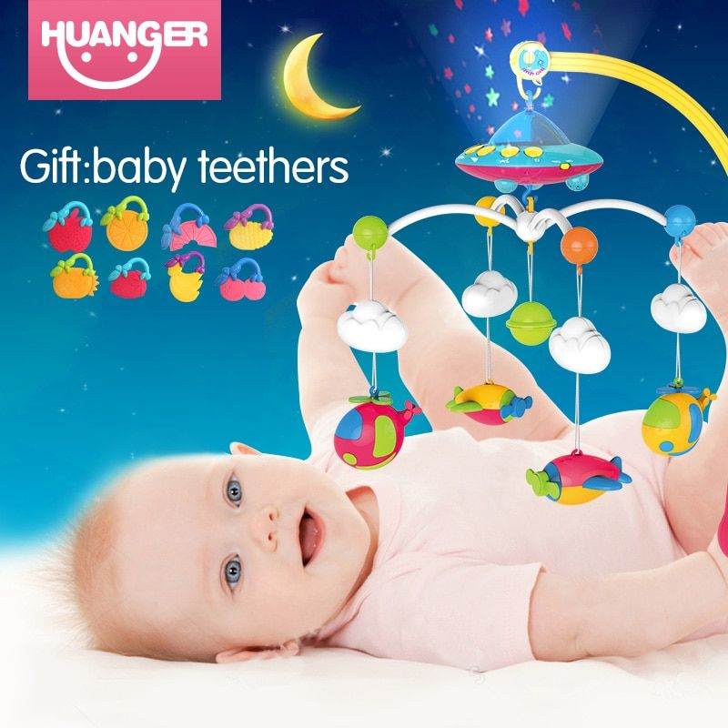 Huanger Baby bed bell newborn 0-12months toys rotating music hanging baby rattle bracket set baby crib mobile holder baby toys