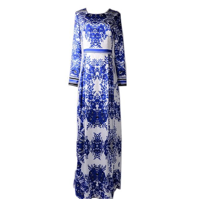 Summer Women's 2017 Top Fashion Classic Designing Blue and White Porcelain Printed Maxi Long Vintage Plus Size 4XL Dress