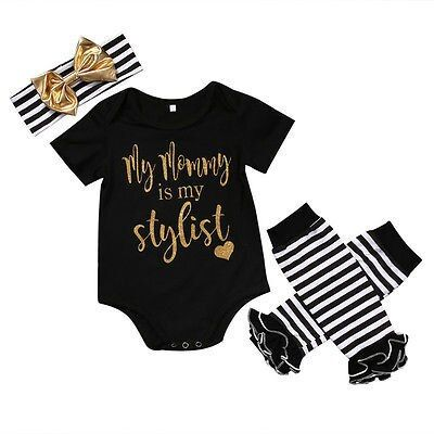 Summer my mommy is my stylis Newborn Baby Girls Cotton Short Sleeve Bodysuit+Striped Leg Warmer Outfits Set Clothes 0-24 M