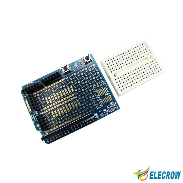 Elecrow Prototyping Shield  for Arduino Prototype Expansion Board DIY Kit Open Source Proto Shield with Mini Breadboard