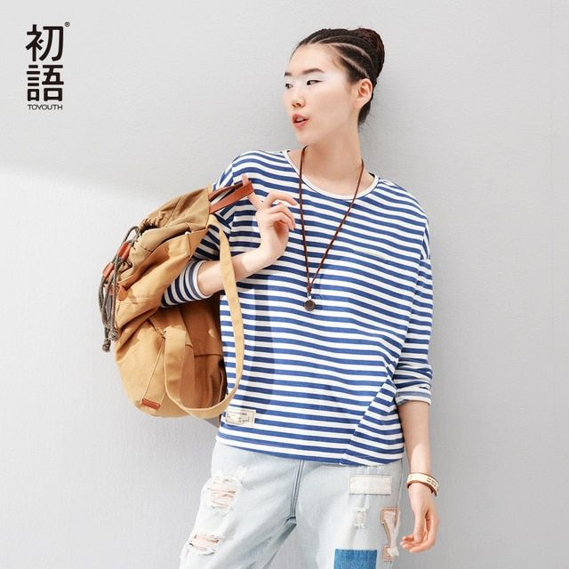 Toyouth 2017 New Arrival Fashion Women T-Shirts Long Batwing Sleeve Striped Base Casual Tees Cotton Woven O-Neck Tops