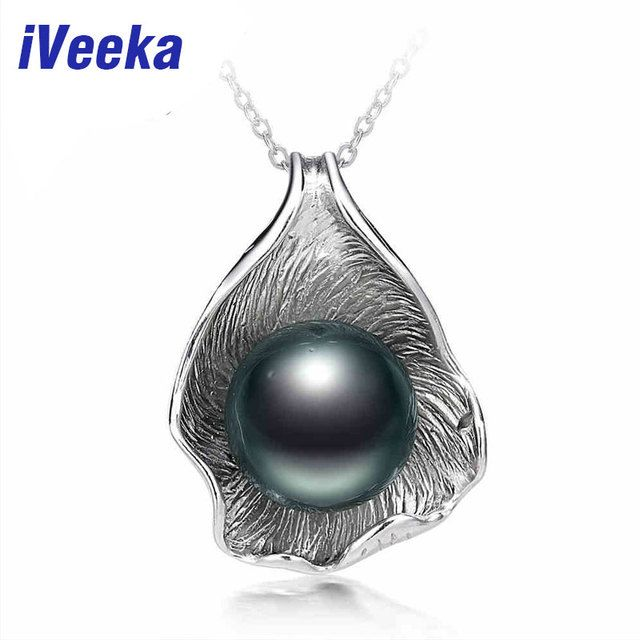 iVeeka jewelry natural freshwater pearl pendant with silver chain silver necklace fashion necklace for women
