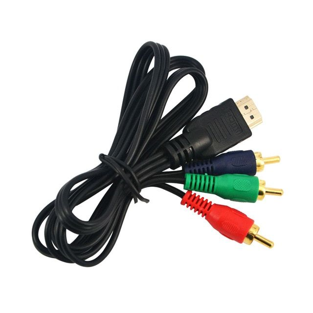 Promotion !! 1080p HDMI To 3 RCA Cable 1M 3 ft Video Audio HDMI VGA AV Component Cord Line Convert Adapter For HDTV High Quality