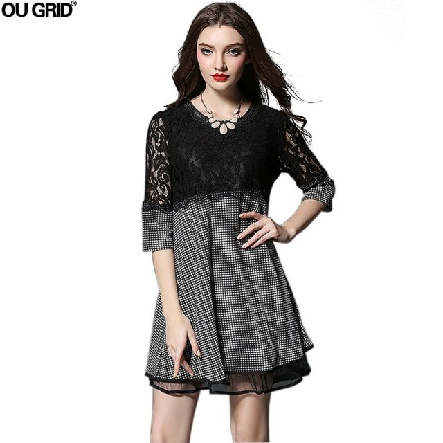 Women  Autumn  Dress 2016 New Arrival Lace Patchwork Loose Large Size Dress Three Quarter Sleeve O-neck Ladies Casual Dresses