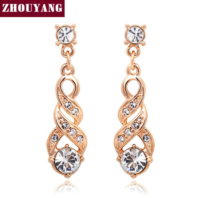 ANGELS EMBRACE Water Stud Earrings Rose Gold & Silver Color Jewelry E725
