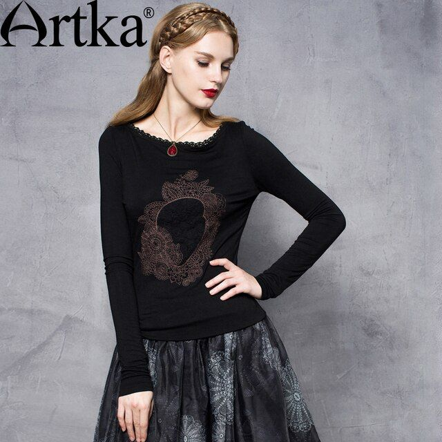 Artka Women's Autumn New Solid Color Embroidery Lace Patchwork T-shirt Fashion O-Neck Long Sleeve Slim Fit Tees ZA10651Q