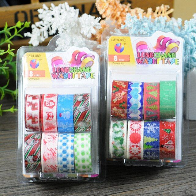 Christmas washi tape set kawaii decorative scotch tape material escolar fita adesiva washitape papel scrapbook duct scotch