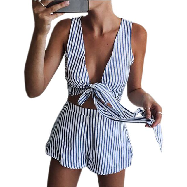 Sleeveless Two Pieces Sets 2017 Summer Women Sexy V-neck Crop Top Shorts Striped Beach Set Beachwear Casual Kawaii Suits GV622