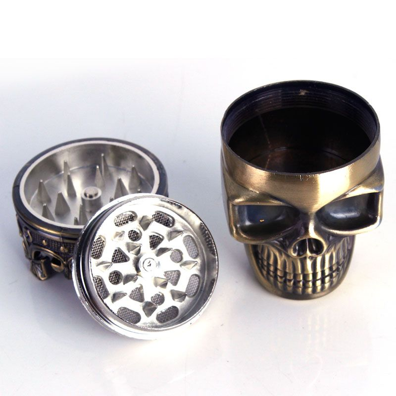 10pcs Creative Skull 3 layer Cigarette Tobacco Pipe Accessories Spice Weed Herb Grinder Smoke Crusher Muller Mill Smoking Bong