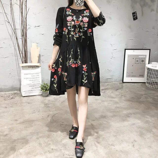 2019 women vintage long sleeve flower embroidery black dress elegant vestidos casual loose round collar ruffle dresses winter