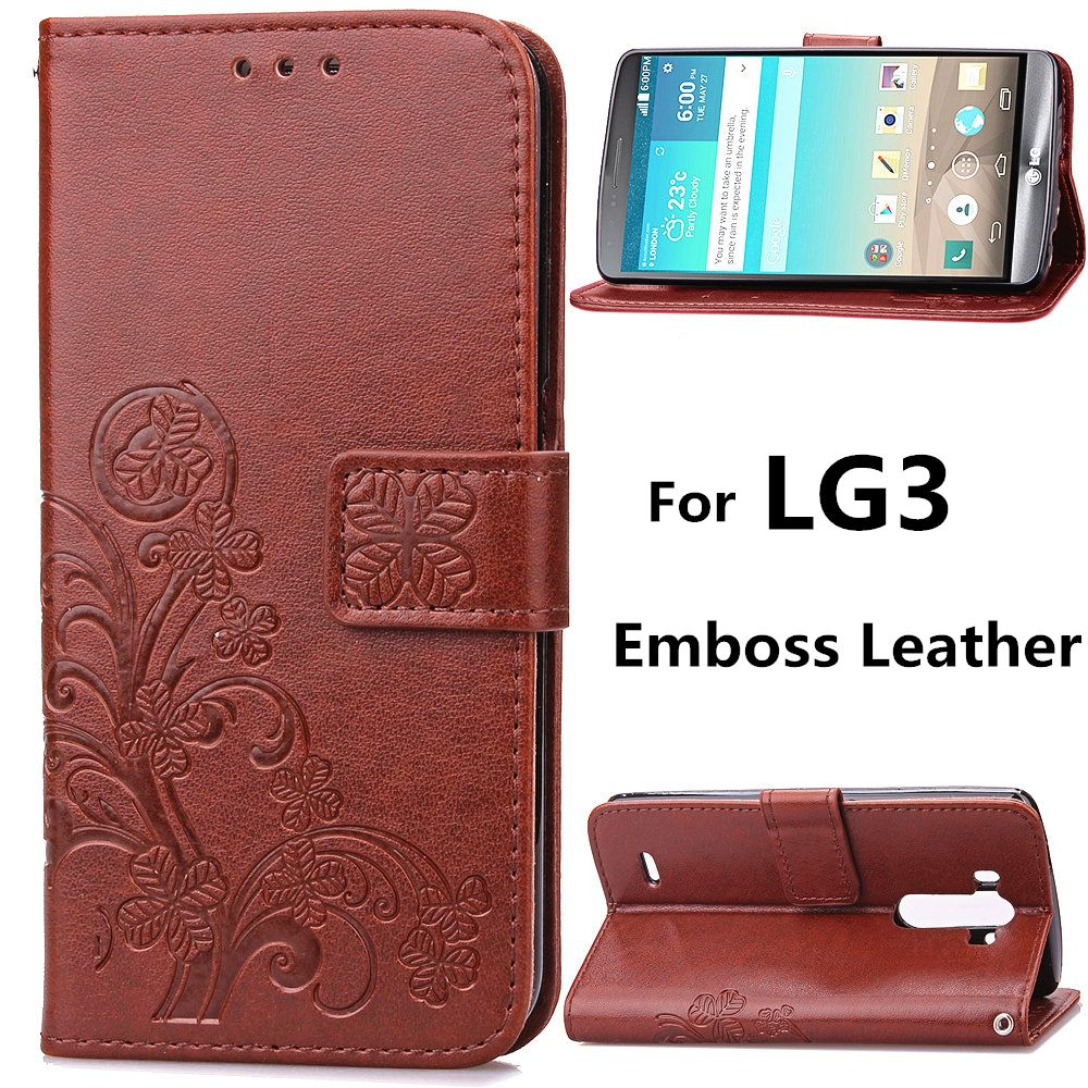 LG3 Emboss Leather Case for LG G3 ( D855 D856 ) Flip Cover Stand Function Card Slot Wallet black Cases Covers G3Case G 3 LG3Case