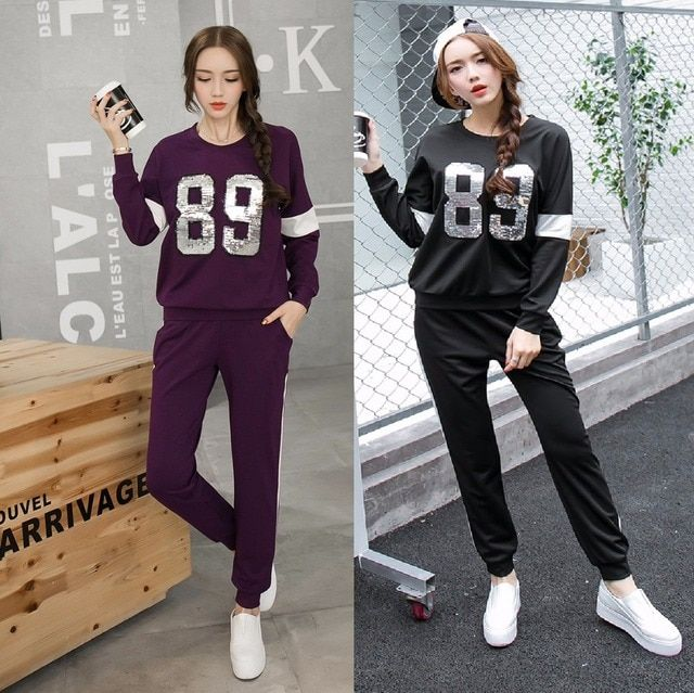 2016 Autumn women long sleeve letter sequins sweatshirt with long pants tracksuit set two pcs female twinset outfit XL-4XL 3673