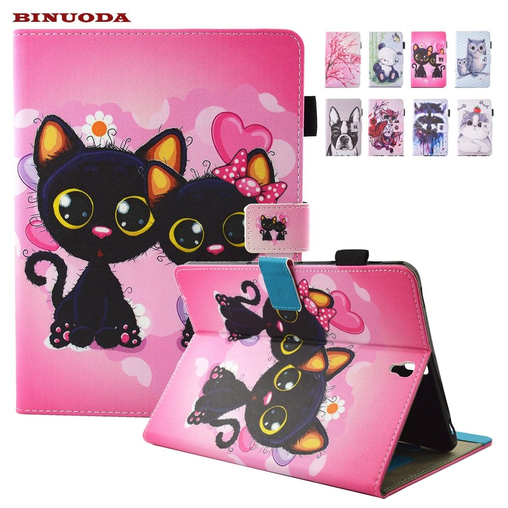 For Coque Samsung Galaxy Tab S3 9.7 T820 SM-T825 Case Cute Cat Printed Folio Flip PU Leather Kickstand Tablet Kids Case Cover