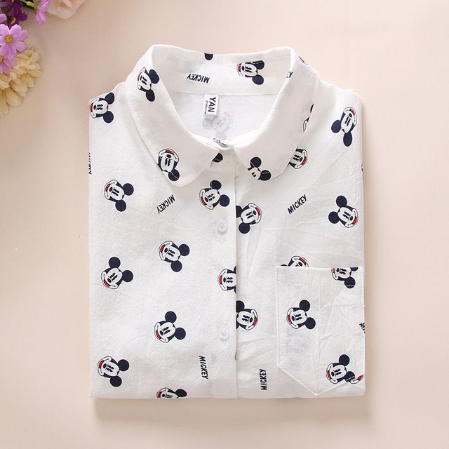 Ladies white Shirt 2016 Spring New Fashion cute Mouse Cartoon Blouse Long Sleeve Women Blouses Womens Tops Blusas Feminine Bluse