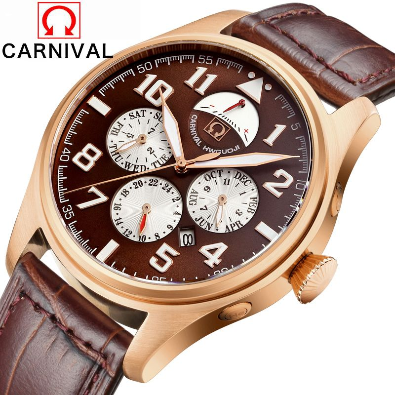 2016 Luxury Brand Carnival Automatic Mechanical Watches Men Waterproof Luminous Watch Calendar Leather Gold Wristwatch Relogio