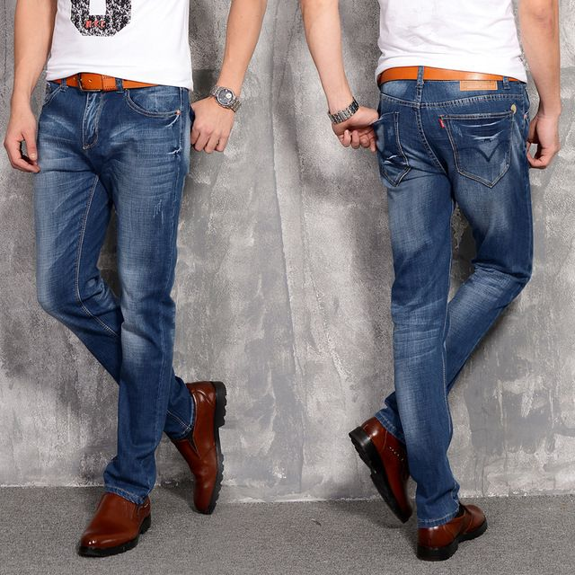 Four Seasons New Fashion Casual Men's Stretch Jeans Slim Korean Straight Full Length Cotton Trousers