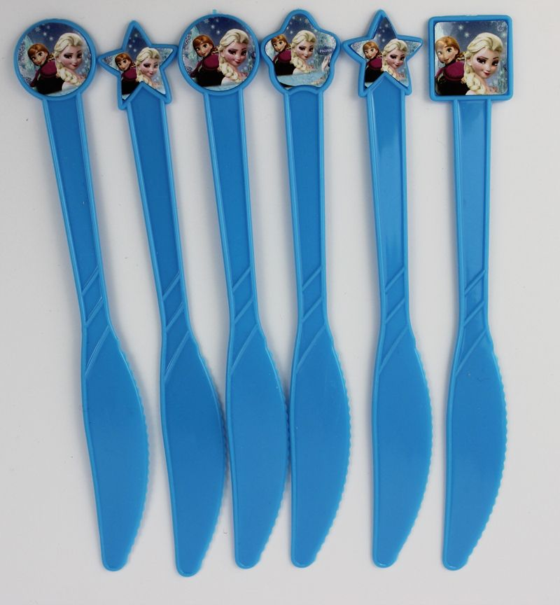 12pcs/lot Frozen Plastic Kinfe Fork  Spoon Choose  Birthday Party Kids Use Party Decorations Evnent Party Supplies Wholesale