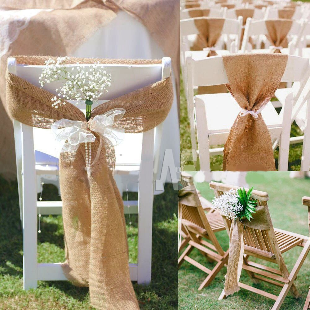 125pieces/lot  Naturally Elegant Burlap Chair Sashes Jute Chair Tie Bow for Rustic Wedding Decoration  17cm*275cm