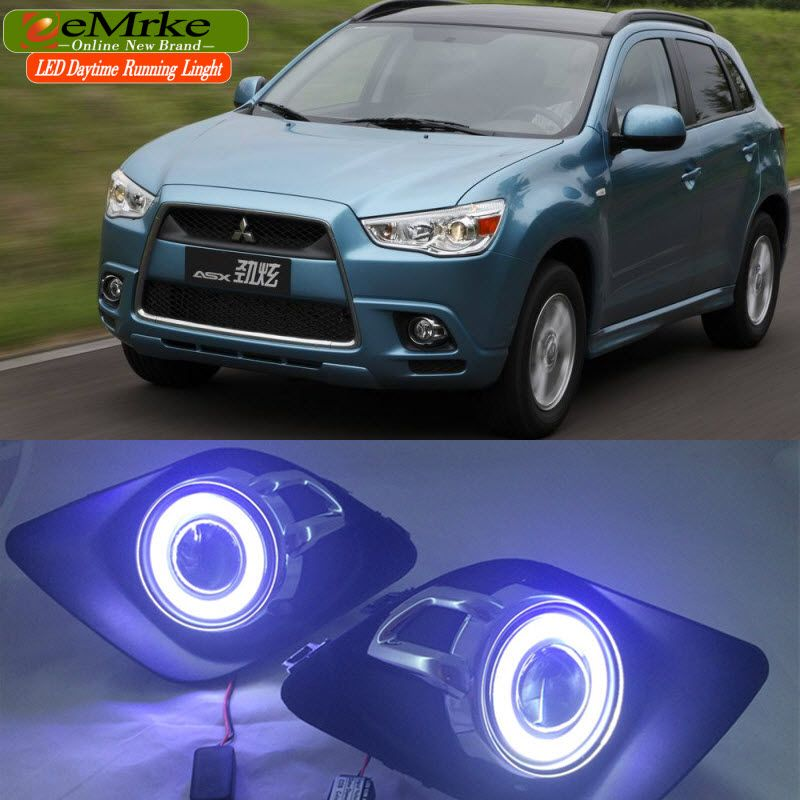LED Daytime Running Lights For Mitsubishi ASX RVR 2010 2011 2012 LED Angel Eye DRL H11 55W Fog Light Halogen