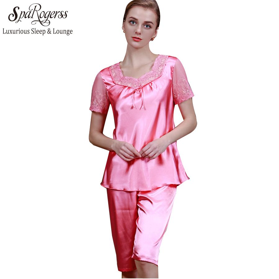 SpaRogerss Top Promotion Summer Silk Women Pyjamas Of Sleep Tops Satin Lace Sexy Women's Bathrobe For Home Clothing TZ007