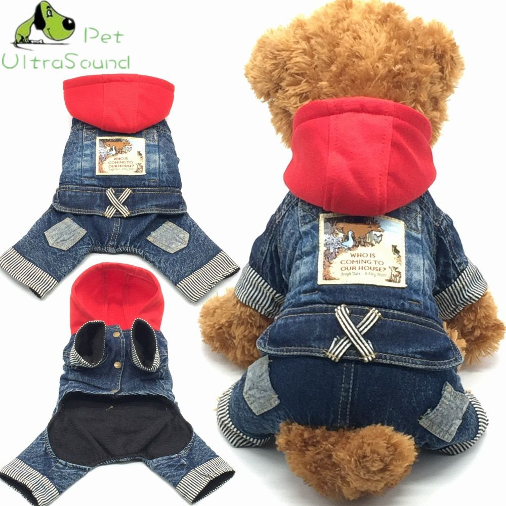 2018 New Jean Pet Cat Dog Animal Printed Costume Warm Winter Dogs Clothes Coat Cowboy Jean Jacket Four Leg Clothing For Dogs
