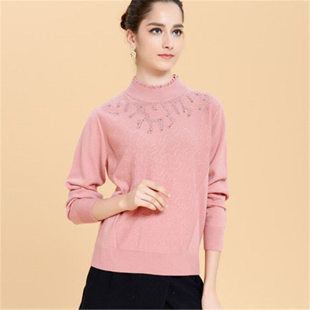 L-5XL 2017 Fall Winter Women Sweaters Pullovers Half Turtleneck Diamond Long Sleeve  Pull femme Large Plus Size 4xl Black  Pink