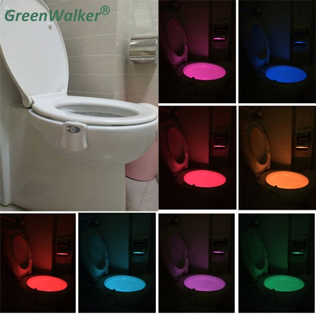 2018 8-Colors Motion Sensor Toilet Nightlight Home Toilet Bathroom Human Body Auto Motion Activated Sensor Seat Night Lamp