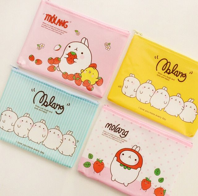 1pc Cute Molang A5 B6 Mini File Bag Document Bag File Folder Stationery Filing Production School Office Supply