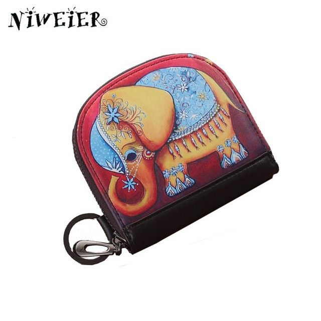 Cartoon Elephant Women's Coin Purse Girls Teenagers Organizer Wallets Zipper Clutch PU Leather Ladies Card Bags Bolsa Feminina
